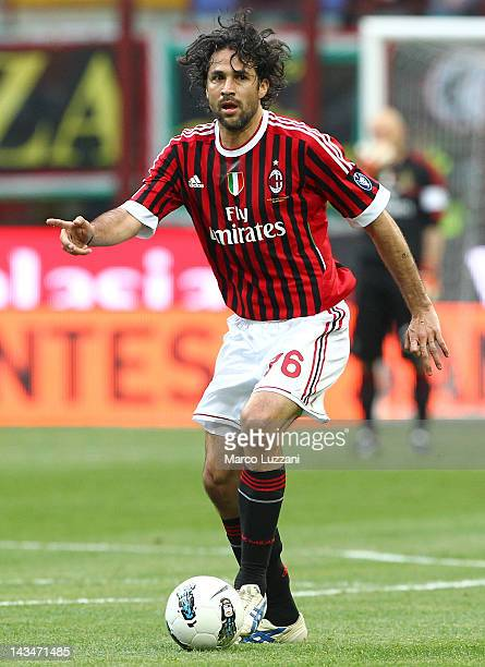 Mario Yepes of AC Milan in action during the Serie A match between AC Milan and Genoa CFC at Stadio Giuseppe Meazza on April 25 2012 in Milan Italy