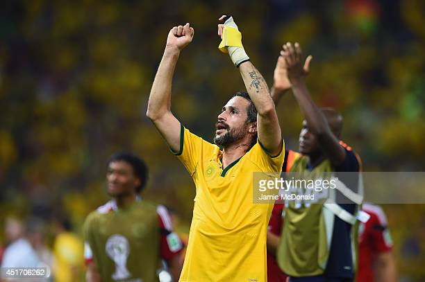 Mario Yepes of Colombia acknowledges the fans after a 21 defeat to Brazil in the 2014 FIFA World Cup Brazil Quarter Final match between Brazil and...
