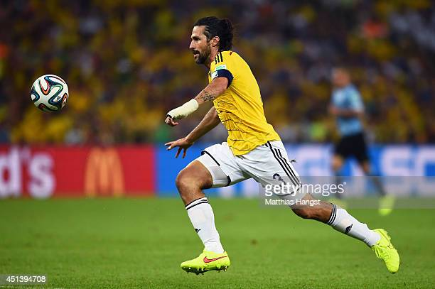 Mario Yepes of Colombia controls the ball during the 2014 FIFA World Cup Brazil round of 16 match between Colombia and Uruguay at Maracana on June 28...