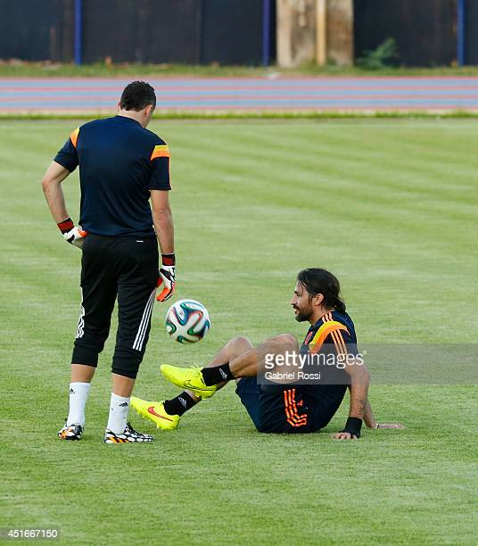 Mario Yepes of Colombia kicks the ball during a training session at Universidad de Fortaleza Stadium on July 03 2014 in Fortaleza Brazil Colombia...