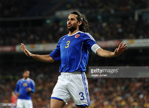 Mario Yepes of Colombia reacts during the International friendly match between Spain and Colombia at Estadio Santiago Bernabeu on February 9 2011 in...