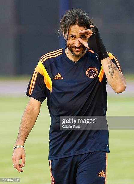 Mario Yepes of Colombia smiles during a training session at Universidad de Fortaleza Stadium on July 03 2014 in Fortaleza Brazil Colombia will face...