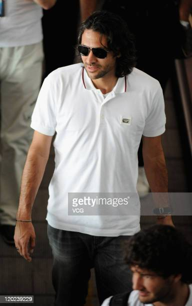 Mario Yepes of Milan arrives at Beijing Capital International Airport on August 2 2011 in Beijing China