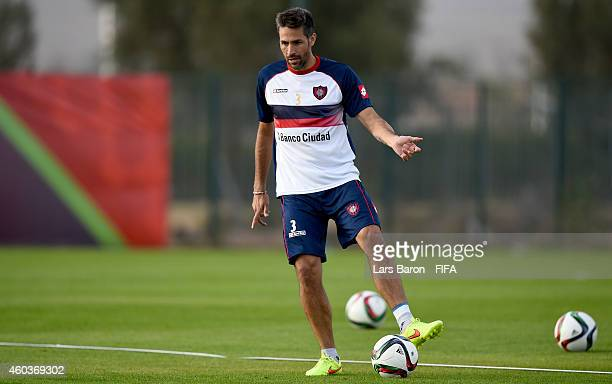 Mario Yepes of San Lorenzo kicks the ball during a San Lorenzo training session prior to there first match in the FIFA Club World Cup on December 12...