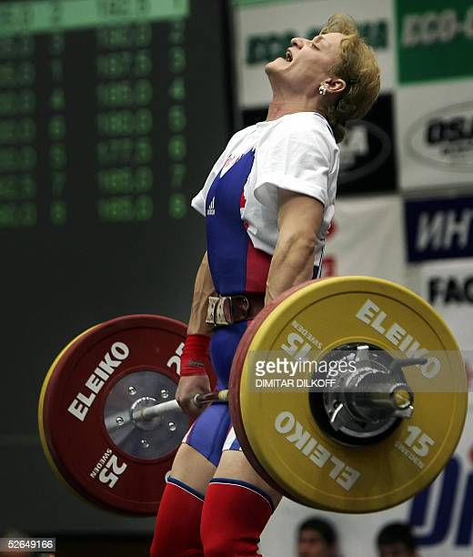 Marioara Munteanu of Romania lifts for the silver medal in the women's 53 kg during the European Weightlifting Championship in Sofia 19 April 2005...