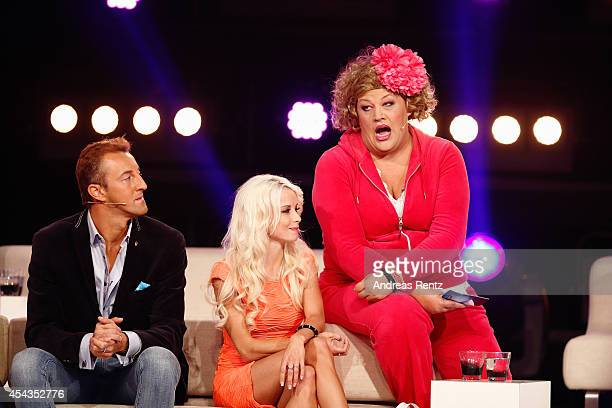 MarioMax Prinz zu SchaumburgLippe Mia Julia and Cindy aus Marzahn attend the Promi Big Brother finals at Coloneum on August 29 2014 in Cologne Germany