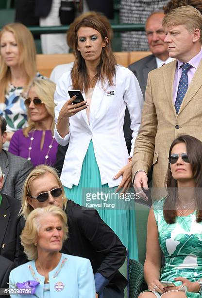 Marion Bartoli attends the women's final of the Wimbledon Tennis Championships between Serena Williams and Angelique Kerber at Wimbledon on July 09...
