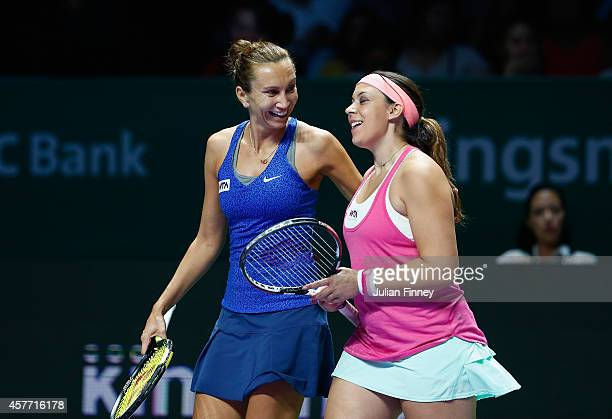 Marion Bartoli of France and Iva Majoli of Croatia in their legends match against Tracy Austin and Martina Navratilova of USA during day four of the...