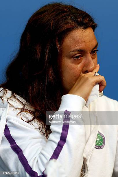 Marion Bartoli of France announces her retirement from professional tennis during the Western & Southern Open on August 14, 2013 at Lindner Family...
