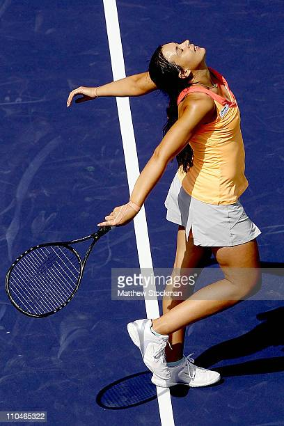 Marion Bartoli of France celebrates her win over Yanina Wickmayer of Belgium in the semifinals during the BNP Paribas Open at the Indian Wells Tennis...