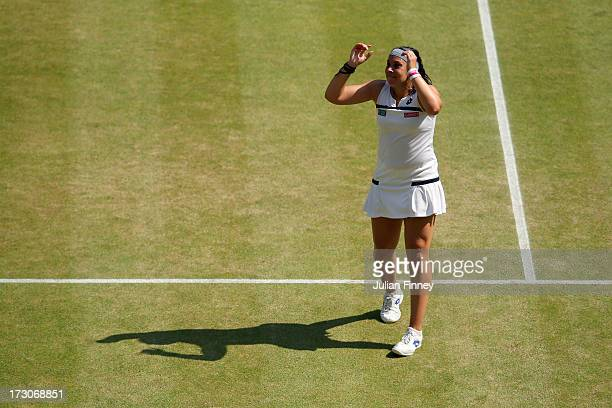 Marion Bartoli of France celebrates match point during the Ladies' Singles final match against Sabine Lisicki of Germany on day twelve of the...
