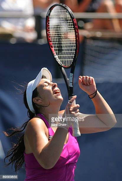 Marion Bartoli of France celebrates match point over Venus Williams in the final match of the Bank of the West Classic August 2, 2009 in Stanford,...