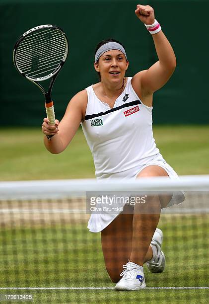 Marion Bartoli of France celebrates victory during the Ladies' Singles semi final match against Kirsten Flipkens of Belgium on day ten of the...