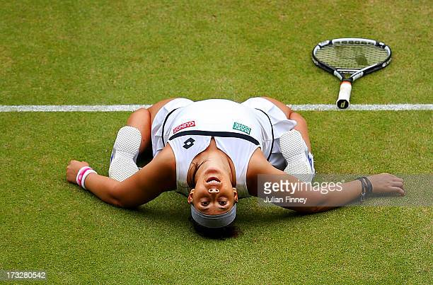 Marion Bartoli of France celebrates victory during the Ladies Singles semi final match against Kirsten Flipkens of Belgium on day ten of the...