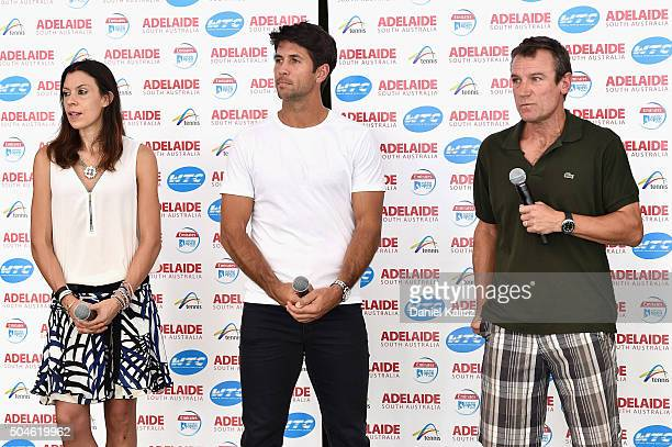 Marion Bartoli of France Fernando Verdasco of Spain and Mats Wilander of Sweden chat with the media during a media opportunity prior to the 2016...