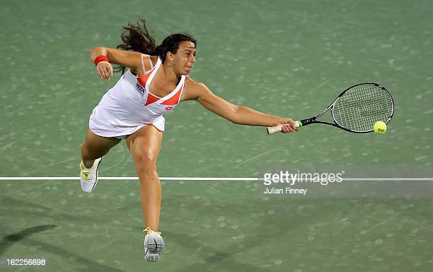 Marion Bartoli of France in action against Caroline Wozniacki of Denmark during day four of the WTA Dubai Duty Free Tennis Championship on February...