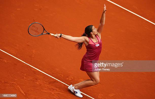 Marion Bartoli of France in action against MariaTeresa TorroFlor of Spain during day four of the Mutua Madrid Open tennis tournament at the Caja...