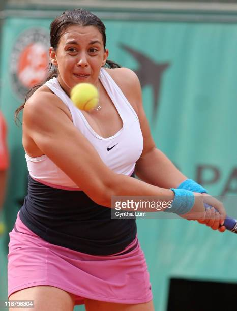 Marion Bartoli of France in action defeating Elena Dementieva of Russia 62 64 in the third round of the French Open Roland Garros Paris France