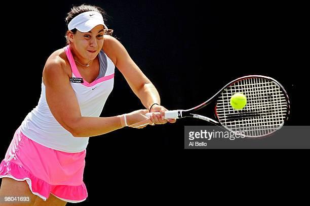 Marion Bartoli of France returns a shot against Magdalena Rybarikova of Slovakia during day three of the 2010 Sony Ericsson Open at Crandon Park...