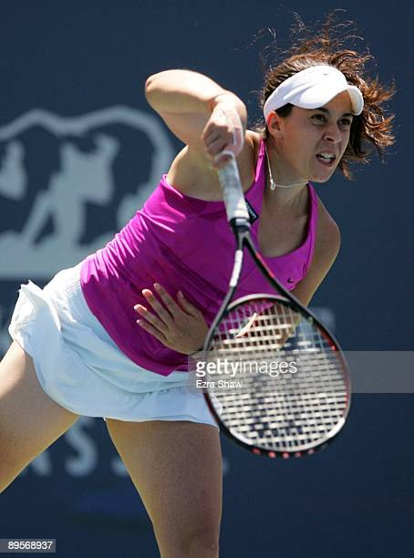 Marion Bartoli of France serves to Venus Williams in their final match at the Bank of the West Classic August 2, 2009 in Stanford, California.