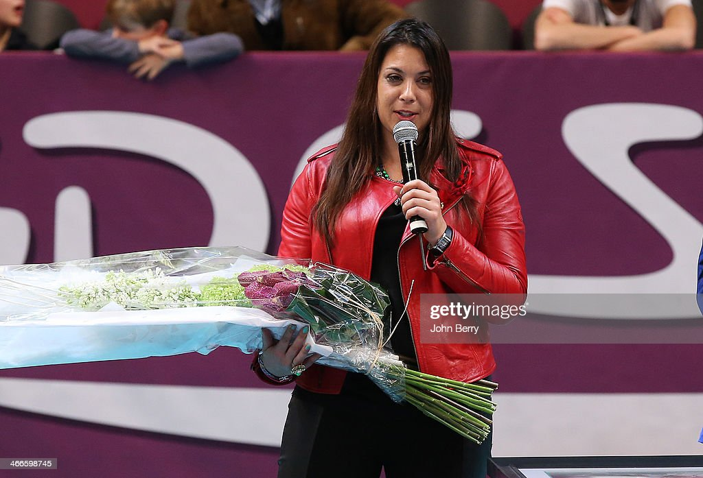 Marion Bartoli of France, who retired last year from tennis, reacts during a tribute to her at the 22nd Open GDF Suez held at the Stade de Coubertin on February 2, 2014 in Paris, France.