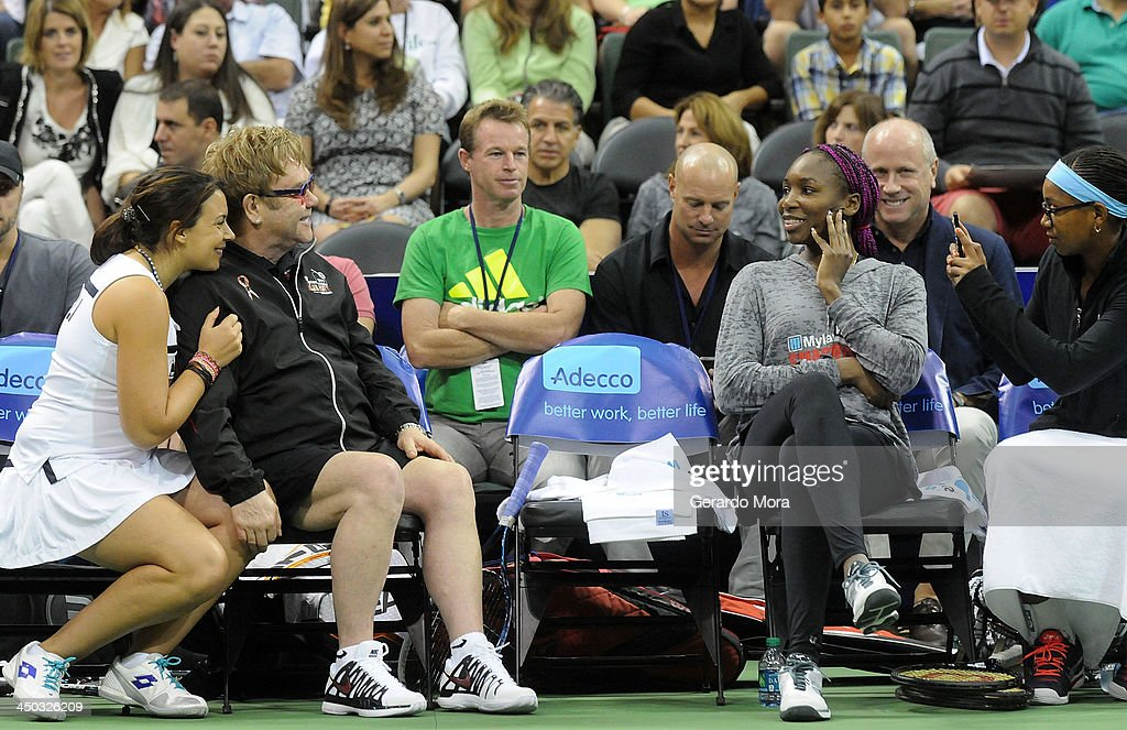 Marion Bartoli, Singer Sir Elton John, Venus Williams and Vicky Duval attend the Mylan World TeamTennis Matches at ESPN Wide World of Sports Complex on November 17, 2013 in Lake Buena Vista, Florida.