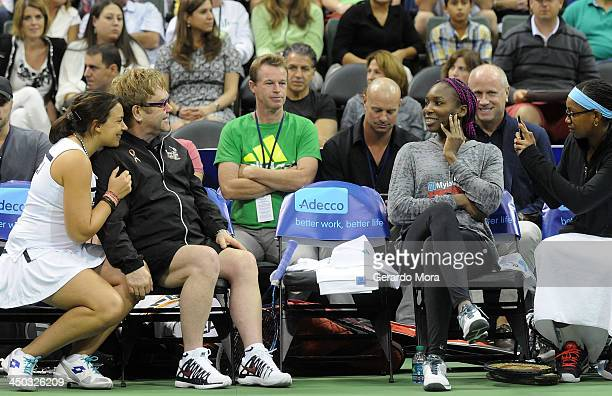 Marion Bartoli Singer Sir Elton John Venus Williams and Vicky Duval attend the Mylan World TeamTennis Matches at ESPN Wide World of Sports Complex on...