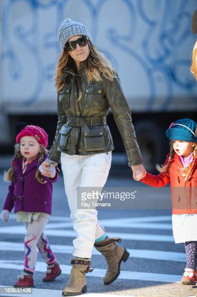 Marion Broderick actress Sarah Jessica Parker and Tabitha Broderick walk to school in the West Village on March 13 2013 in New York City