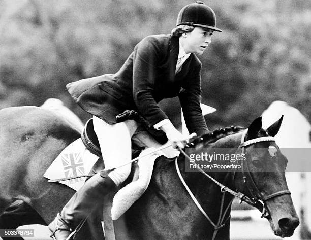 Marion Coakes of Great Britain riding 'Stroller' on her way to victory in the Ladies World Show Jumping Championships at Hickstead 11th September 1965