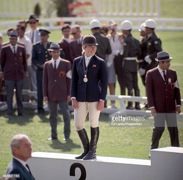 Marion Coakes of Great Britain winner of the silver medal in the equestrian individual jumping event during the Summer Olympic Games in Mexico City...