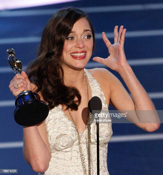 "Marion Cotillard accepts the award for Best Actress in a Leading Role for ""La Vie en Rose"" during the 80th Annual Academy Awards held at the Kodak..."