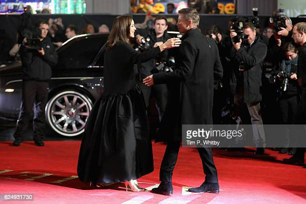 Marion Cotillard and Brad Pitt attend the UK Premiere of 'Allied' at Odeon Leicester Square on November 21 2016 in London England