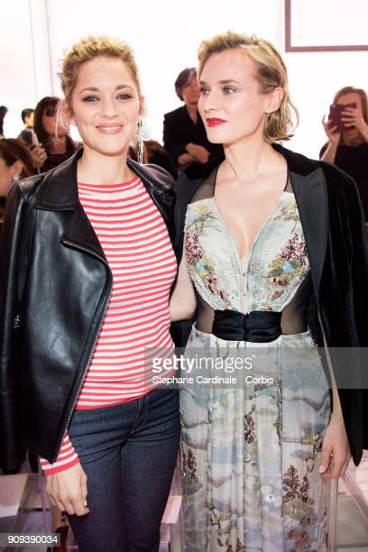 Marion Cotillard and Diane Kruger attend the Giorgio Armani Prive Haute Couture Spring Summer 2018 show as part of Paris Fashion Week January 23 2018...