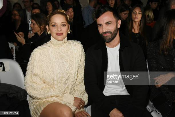 Marion Cotillard and fashion designer Nicolas Ghesquieres attend the JeanPaul Gaultier Haute Couture Spring Summer 2018 show as part of Paris Fashion...