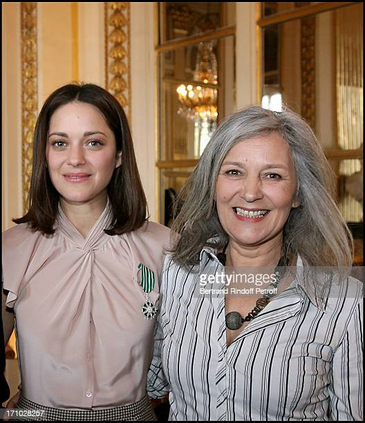 Marion Cotillard and Frederic Mitterrand with her mother Niseema Theillaud at Marion Cotillard And Tim Burton Honoured With The Titles Chevalier Des...