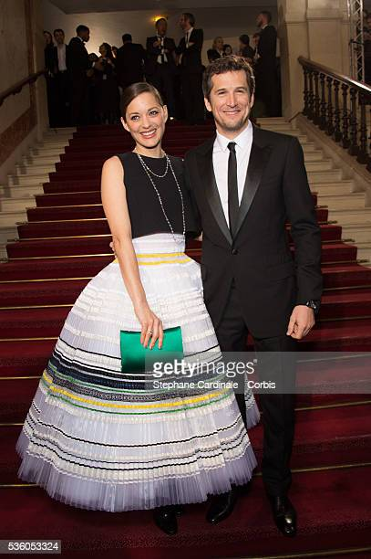 Marion Cotillard and Guillaume Canet arrive at the 40th Cesar Film Awards 2015 Cocktail at Theatre du Chatelet on February 20 2015 in Paris France