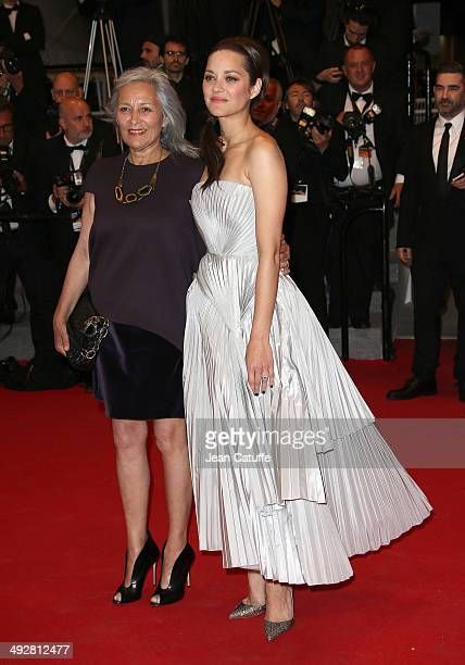 Marion Cotillard and her mother Niseema Theillaud attend 'L'Homme Qu'On Aimait Trop' premiere during the 67th Annual Cannes Film Festival on May 21...