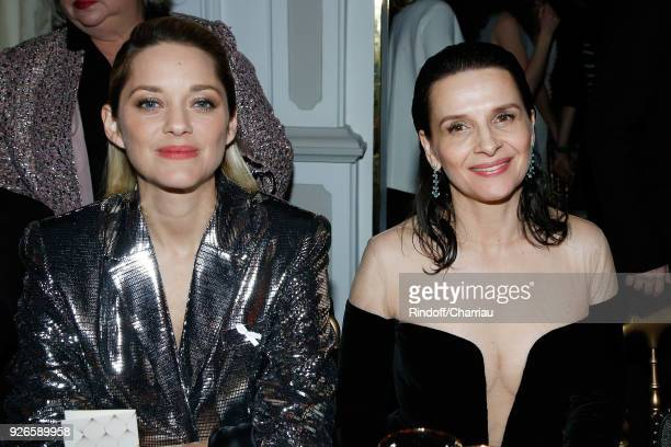 Marion Cotillard and Juliette Binoche attend Dinner at Le Fouquet's during Cesar Film Award 2018 at Le Fouquet's on March 2 2018 in Paris France
