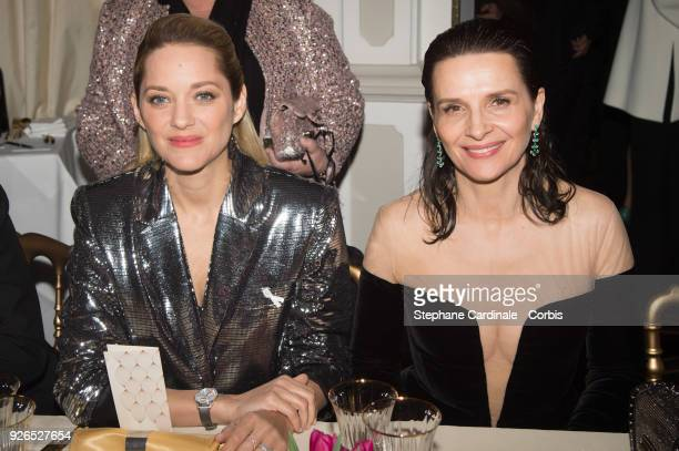 Marion Cotillard and Juliette Binoche attend the Cesar ceremony dinner at Le Fouquet's on March 2 2018 in Paris France