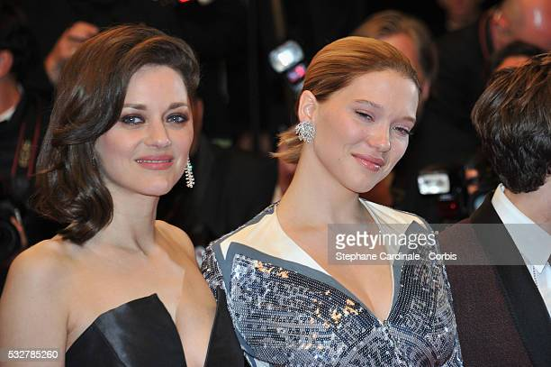 """Marion Cotillard and Lea Seydoux attend the """"It's Only The End Of The World """" Premiere during the 69th annual Cannes Film Festival at the Palais des..."""
