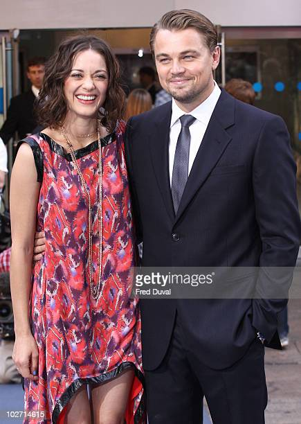 Marion Cotillard and Leonardo DiCaprio attend the World Premiere of 'Inception' at Odeon Leicester Square on July 8 2010 in London England