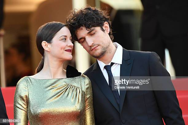 Marion Cotillard and Louis Garrel attend the 'From The Land Of The Moon ' premiere during the 69th annual Cannes Film Festival at the Palais des...