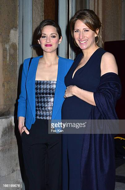 Marion Cotillard and Maud Fontenoy attend the Maud Fontenoy Foundation Annual Gala Arrivals at Hotel de la Marine on April 9 2013 in Paris France