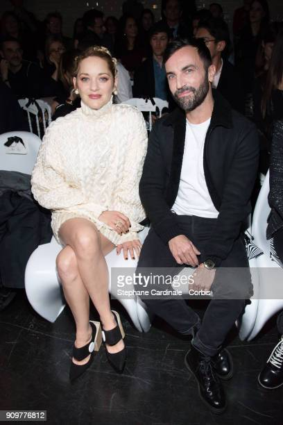 Marion Cotillard and Nicolas Ghesquiere attend the Jean Paul Gaultier Haute Couture Spring Summer 2018 show as part of Paris Fashion Week January 24...
