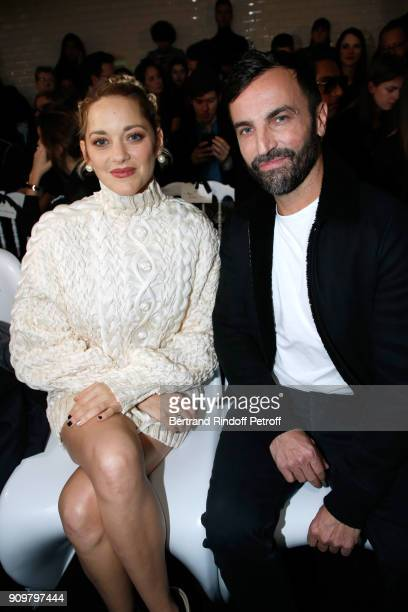 Marion Cotillard and Nicolas Ghesquiere attend the JeanPaul Gaultier Haute Couture Spring Summer 2018 show as part of Paris Fashion Week on January...