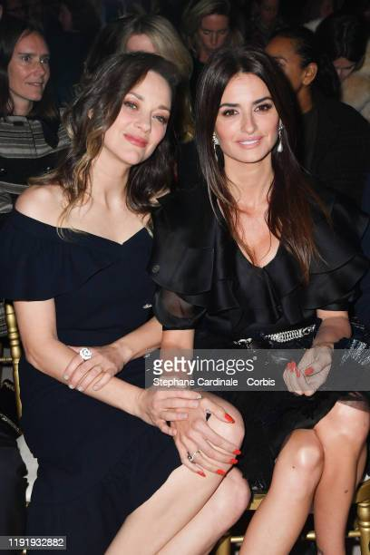 Marion Cotillard and Penelope Cruz attend the Front Row of the Chanel Metiers d'art 2019-2020 show at Le Grand Palais on December 04, 2019 in Paris,...