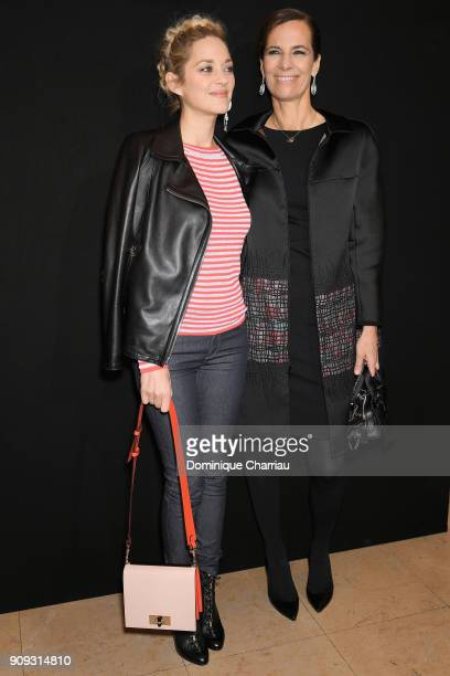 Marion Cotillard and Roberta Armani attend the Giorgio Armani Prive Haute Couture Spring Summer 2018 show as part of Paris Fashion Week on January 23...