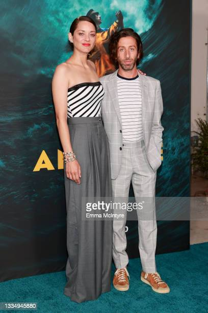 """Marion Cotillard and Simon Helberg attend a special screening of Amazon's original movie """"Annette"""" at Hollywood Forever on August 18, 2021 in..."""