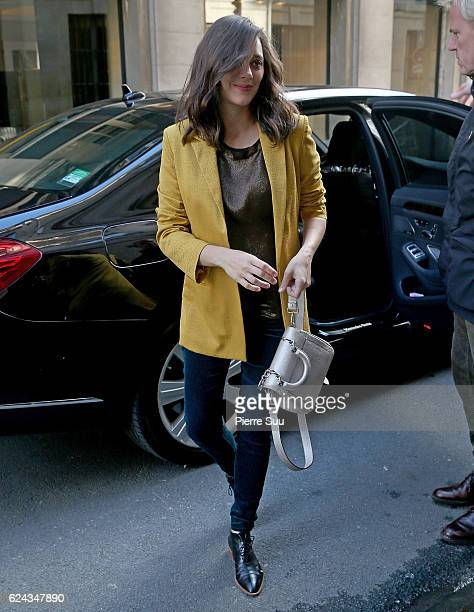 Marion Cotillard arrives at the Ministry of Culture to attend Robert Zemeckis Chevalier de l'ordre des Arts et des Lettres' decoration ceremony on...