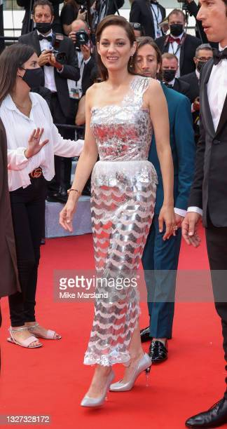 """Marion Cotillard attends the """"Annette"""" screening and opening ceremony during the 74th annual Cannes Film Festival on July 06, 2021 in Cannes, France."""